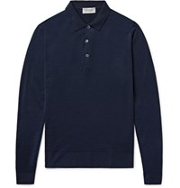John Smedley Belper Merino Wool Polo Shirt Midnight Blue
