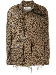 R 13 R13 Leopard Print Oversized Jacket Brown
