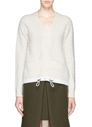 Sacai Drawstring Hem Cable Knit Wool Cardigan White