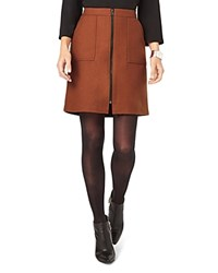 Phase Eight Dillon Zip Front Skirt Tobacco