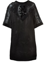 Ermanno Scervino Sheer Lace Panel Dress Black