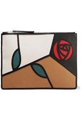 Loewe Roses Patchwork Leather Pouch Brown