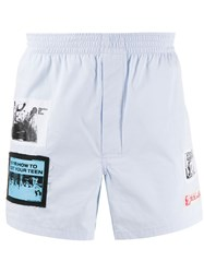 Raf Simons Patched Deck Shorts Blue