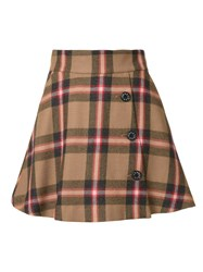 Loveless Plaid A Line Skirt Brown