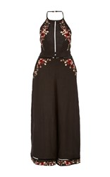 Zimmermann Floral Embroidered Halter Jumpsuit Black