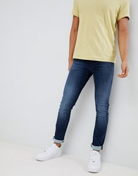 Boss Skinny Fit Used Wash Jeans Blue