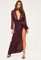 Missguided Petite Exclusive Mauve Satin Wrap Maxi Dress