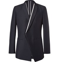 Kilgour Navy Contrast Trim Mohair And Wool Blend Blazer Blue