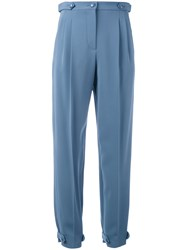 Emporio Armani High Waisted Trousers Women Spandex Elastane Viscose 42 Blue