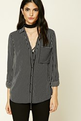 Forever 21 Striped Crepe Woven Shirt Black White