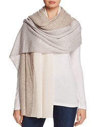 Bloomingdale's C By Cashmere Colorblock Wrap 100 Exclusive Heather Oatmeal