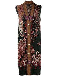 Etro Embroidered Sleeveless Cardigan Brown