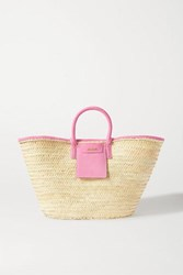 Jacquemus Soleil Large Nubuck Trimmed Straw Tote Pink