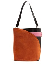 Hillier Bartley Cigar Suede And Leather Tote Multi