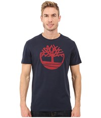 Timberland Kennebec River Tree Logo T Shirt Dark Sapphire Men's T Shirt Blue