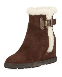 cc07adf958e Aquatalia By Marvin K Caitlyn Fur Trim Wedge Boot Dark Brown