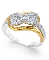 Macy's Diamond Two Tone Cluster Ring 3 4 Ct. T.W. In 14K White And Yellow Gold Two Tone