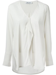 Dondup Draped Front V Neck Blouse Nude And Neutrals