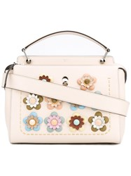 Fendi Floral Embellished Tote Women Leather Metal One Size Nude Neutrals