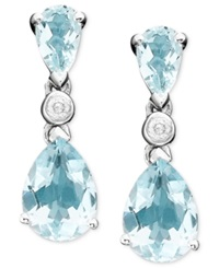 Macy's 10K White Gold Pear Cut Aquamarine Drop Earrings Blue