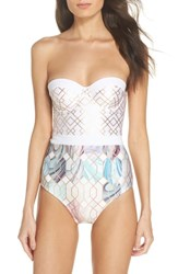 Ted Baker London Sea Of Clouds Underwire One Piece Swimsuit White