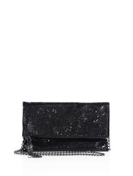 Whiting And Davis Snake Head Foldover Crossbody Clutch Black