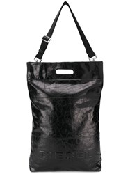 Diesel Crinkled Leather Shopper Tote Black