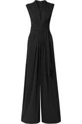 Michael Kors Collection Gathered Stretch Crepe Jumpsuit Black
