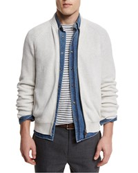 Brunello Cucinelli Ribbed Knit Full Zip Cardigan Marble Dove Women's