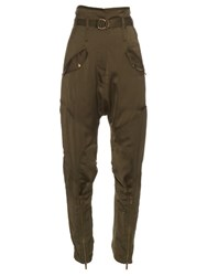 Roberto Cavalli Relaxed Leg Dropped Crotch Satin Trousers Khaki