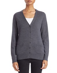 Lord And Taylor Plus Merino Wool Basic V Neck Cardigan Graphite Heather