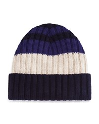 Bloomingdale's The Men's Store At Collegiate Stripe Cuff Hat Navy Taupe
