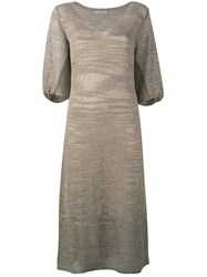 D.Exterior Knitted V Neck Dress Nude Neutrals