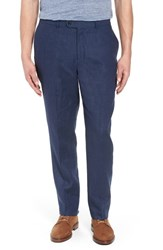 Kroon Andrew Aim Flat Front Linen Trousers Navy
