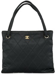 Chanel Vintage Diamond Quilted Tote Bag Black