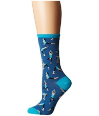 Socksmith Yoga People Blueberry Women's Crew Cut Socks Shoes