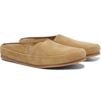 Mulo Suede Backless Loafers Brown