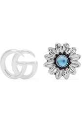 Gucci Marmont Silver Tone Multi Stone Earrings One Size