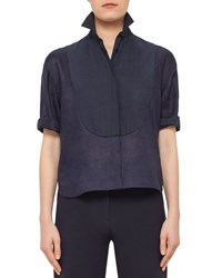 Akris Punto Half Sleeve Pintucked Linen Blouse Navy Women's