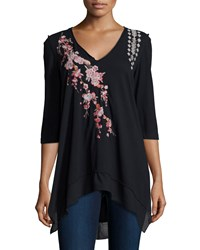 Jwla Voltage Noriko 3 4 Sleeve Floral Embroidered Tunic Black