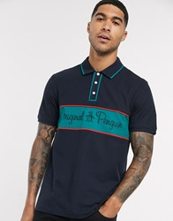 Original Penguin Chest Logo Panel Knit Tipped Polo In Navy