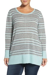 Sejour Plus Size Women's Crewneck Wool And Cashmere Sweater Grey Teal Stripe