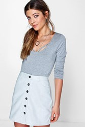 Boohoo Button Front Suedette Mini Skirt Grey