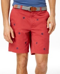 Club Room Turtle Embroidered 9 Shorts Tomato Red