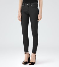 Reiss Alexis Coated Womens Coated Biker Jeans In Black