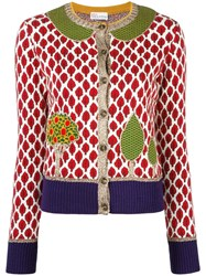 Red Valentino Tree Embroidery Cardigan Red
