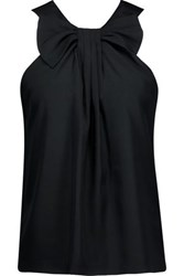 Raoul Bow Embellished Pleated Crepe Top Black