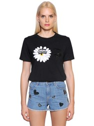 Chiara Ferragni Sequin Embroidered Daisy Cotton T Shirt