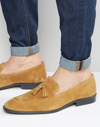 Asos Loafers In Tan Suede With Tassel Tan