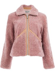 Aalto Shearling Zip Up Jacket Pink And Purple